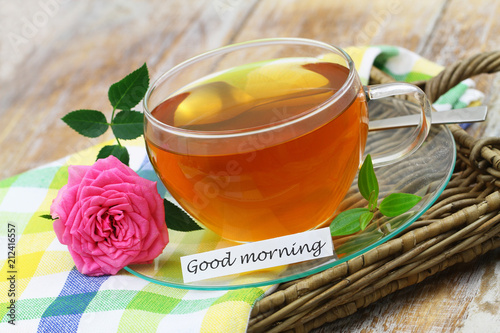 Good Morning Card With Cup Of Lemon Tea And One Pink Wild Rose Buy