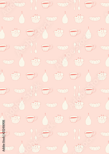 Doodle Breakfast Pattern Background Hand Drawn Kitchen Wallpaper