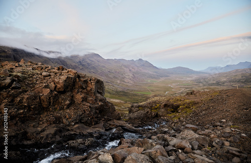 Foto op Plexiglas Chocoladebruin River valley in Iceland. Mountain view. The North Of Iceland