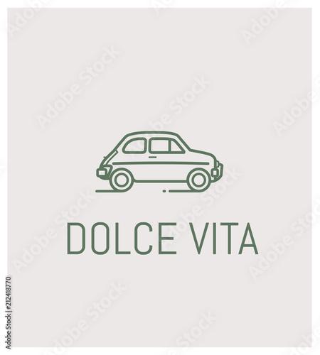 fiat 500 et dolce vita, logo, vintage, automobile Canvas Print