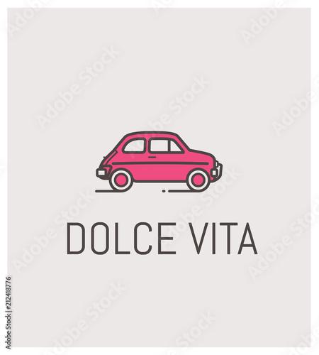 Photo fiat 500 et dolce vita, logo, vintage, automobile