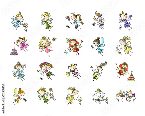 Fototapeta Cute little fairies collection, sketch for your design