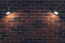 Old Red Brick Wall With Two Spotlights. Rays In The Center. Background Texture Closeup.