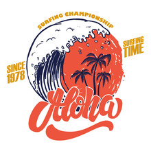Aloha. Surfing Time. Poster Template With Lettering And Palms.