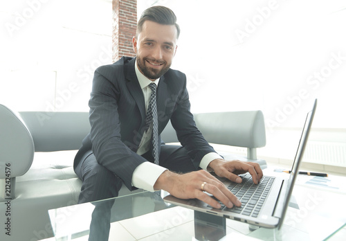 Garden Poster Successful man working on laptop in modern office