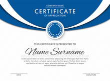 Certificate Template In Elegant Blue Color With Medal And Abstract Borders, Frames. Certificate Of Appreciation, Award Diploma Design Template