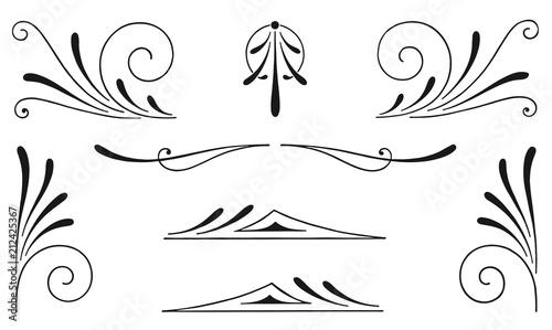 Photo Vintage calligraphic decoration elements set #isolated #vector - Dekoration Elem