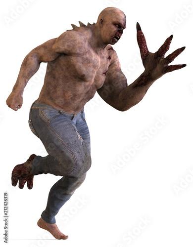 Fototapeta 3D illustration mutant monster isolated on white background