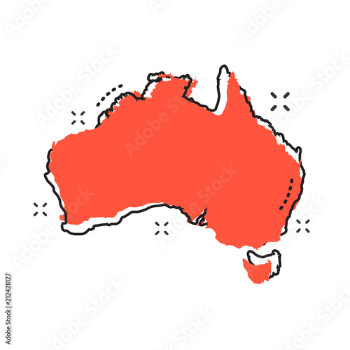 Photo Cartoon Australia map icon in comic style