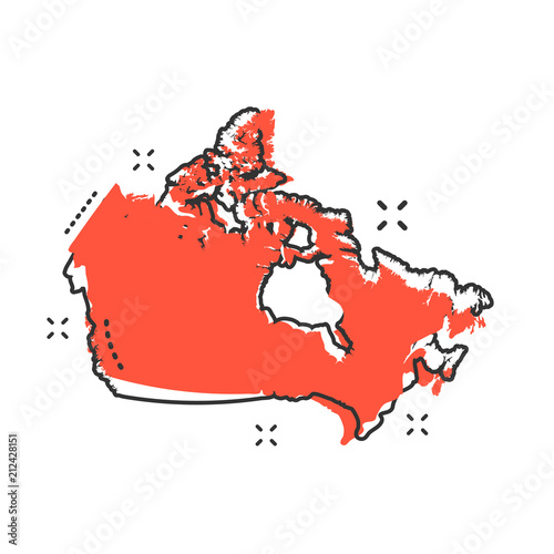 Photo  Cartoon Canada map icon in comic style