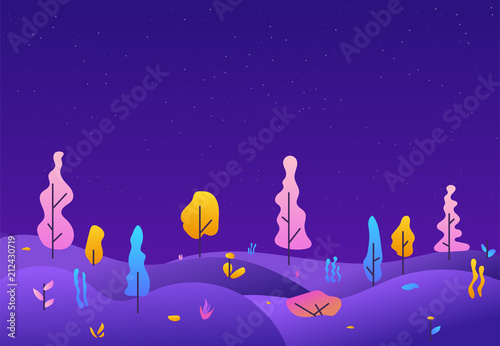 City park lawn and trees. Flat style line vector illustration. Futuristic landscape of other planet. Retro gradient colors and kids style illustration. Starry night and purple trees.