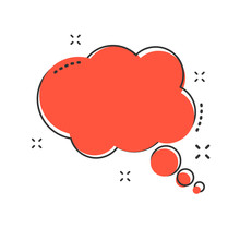 Cartoon Thought Bubble Icon In Comic Style. Think Bubble Sign Illustration Pictogram. Cloud Splash Business Concept.