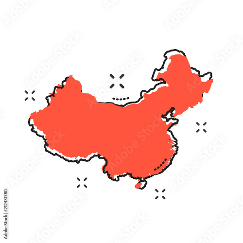 Foto  Cartoon china map icon in comic style