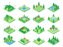 Nature Forest Elements, Plants Symbol And Green Trees For City 3d Isometric Game Map. Isolated Park Tree Vector Icons Set
