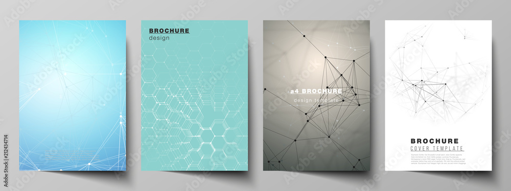 Fototapety, obrazy: The vector layout of A4 format cover mockups design templates for brochure, flyer, report. Technology, science, medical concept. Molecule structure, connecting lines and dots. Futuristic background