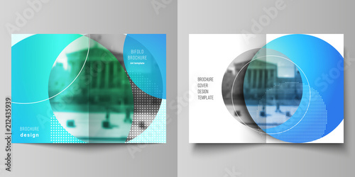 Fotografía  The vector layout of two A4 format cover mockups design templates for bifold brochure, magazine, flyer, booklet, annual report