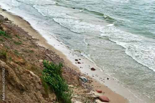 Tuinposter Kust Baltic sea coast, steep sea coast, overgrown coast