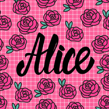 Alice Name Card With Lovely Pink Roses. Vector Illustration.