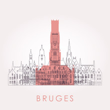 Outline Bruges Skyline With Landmarks. Vector Illustration. Business Travel And Tourism Concept With Historic Buildings. Image For Presentation, Banner, Placard And Web Site.