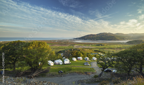 Aerial View over Coastal Campsite in Barmouth Tapéta, Fotótapéta