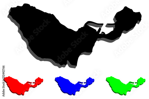 3D map of Ceuta (Spanish autonomous city) - black, red, blue and green - vector illustration