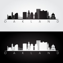 Oakland, USA Skyline And Landmarks Silhouette, Black And White Design, Vector Illustration.
