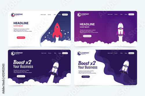 Boost Business Website Landing Page Vector Template Design Concept Fototapeta