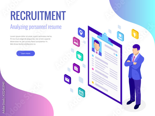 Fotografía  Isometric hiring and recruitment concept for web page, banner, presentation