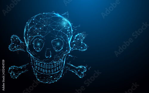 Photo  Skull and crossbones form lines, triangles and particle style design