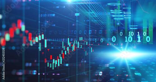Photo  stock market chart data screen on technology background