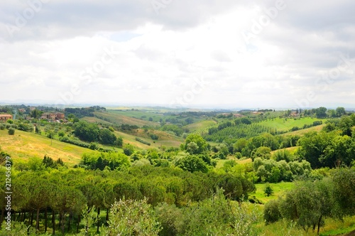 Deurstickers Wit Beautiful landscape of hills, cypress trees and houses in Tuscany, Italy