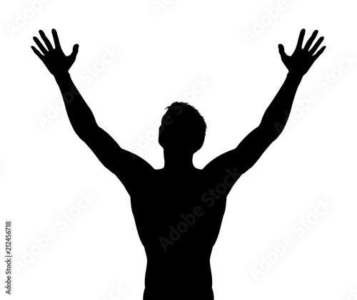Man Arms Raised Silhouette Fototapet
