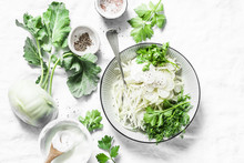 Kohlrabi And Daikon Slaw Salad On A Light Background, Top View. Vegetarian Diet Food Concept