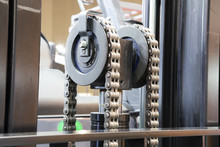Close Up Of Chain In Forklift