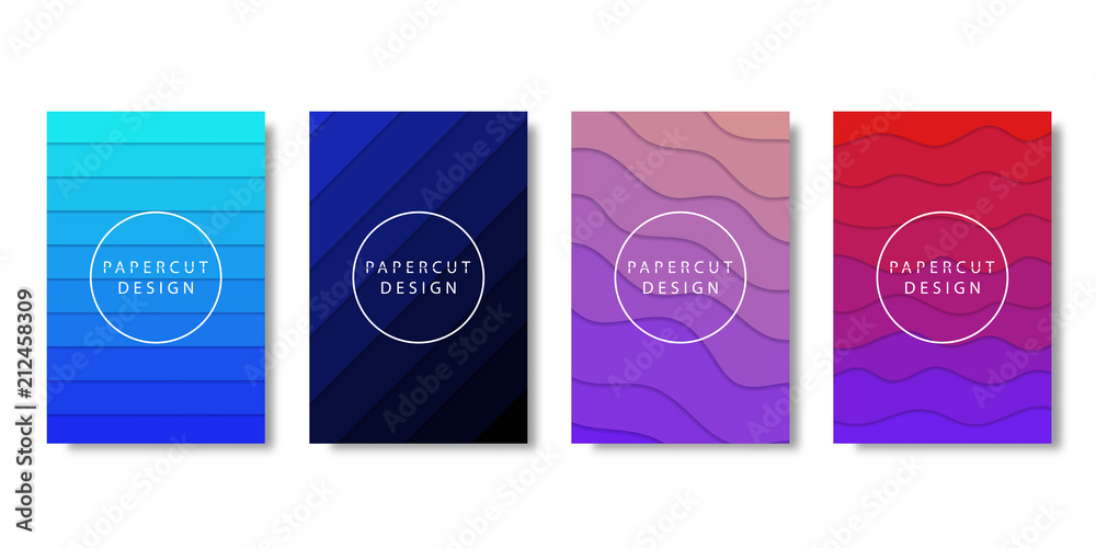 Fototapety, obrazy: Vector set of realistic isolated brochure with paper cut layer design for decoration and covering on the white background. Concept of geometric abstract design.