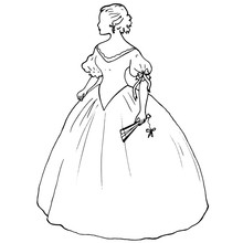 Romantic Female Silhouette In A Ball Gown With Fan. Lovely Contour Of A Young Woman In Antique Style In Dress With Fluffy Skirt For Coloring Book Pages, Banners, Covers. Bride, Princess, Lady Figure