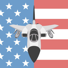 Plane Fighter  On The Background Usa Flag