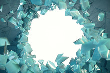3D Illustration Broken Ice Wall With Hole In Centre. Place For Your Banner, Advertisement.