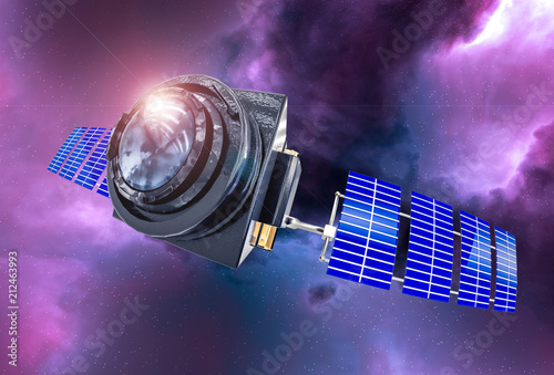 Photo  Space Telescope concept 3D rendering in the space purple nebula with lens flare
