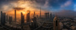 canvas print picture - Nebliger Morgen über das Zentrum Dubais