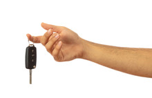 Hand Holding A Car Key Isolated On White Background, Clipping Path