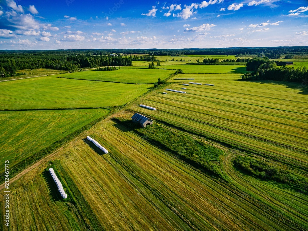 Fototapety, obrazy: Aerial view of green field harvest with old wood barn and bales of hay in white plastic in rural Finland.