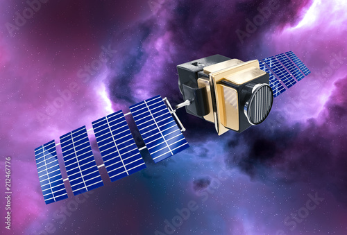 Valokuvatapetti artificial satellite concept 3D rendering in the space purple nebula