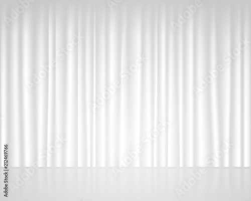 White empty stage with curtain wedding template