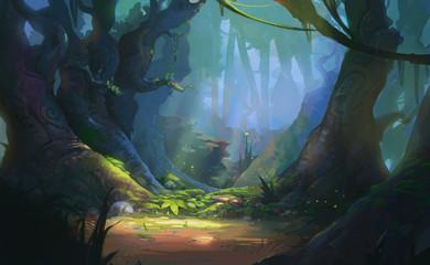 Game Art Fantasy Forest Environment. Digital CG Artwork, Concept Illustration, Realistic Cartoon Style Scene Design