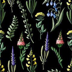 Fototapeta Łąka Seamless pattern with wild flowers. Vector illustration.
