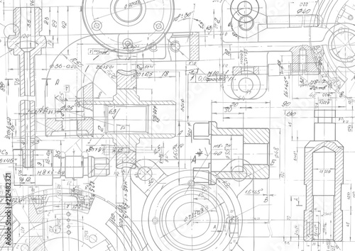 Fototapeta  Technical drawing background .Mechanical Engineering drawing