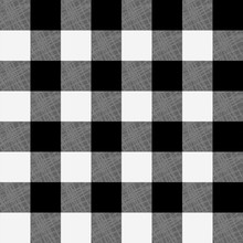 Vector Seamless Pattern Of Black And White Plaid. Tartan Seamless