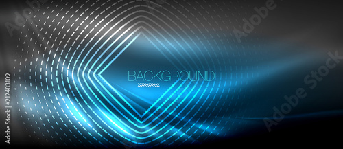 Fotomural Neon glowing wave, magic energy and light motion background