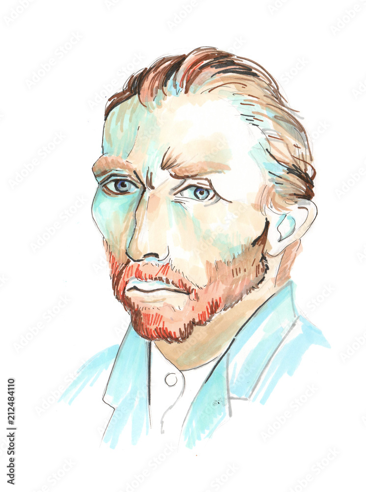 Hand drawn aquarelle colorful illustration. Watercolor artwork. Portrait of a man. Vincent Willem van Gogh.
